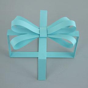 """Aqua Present, 9"""" x 9"""" x 6"""", paper, balsa wood"""