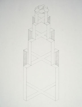 "Untitled (Drawing for Stacked Orange Present), 2007, 13x17"", graphite on paper"
