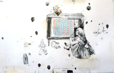 "John Copeland. ""Soon, everything will make sense"" . 40 x 25 inches . Graphite and Colored Pencil on Paper . 2007"