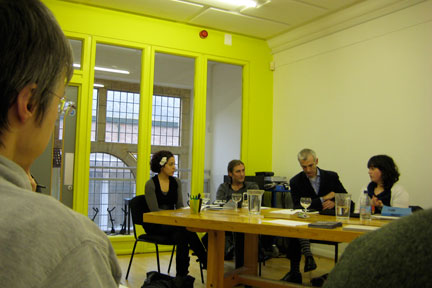 """Speakers at """"Changing Perceptions of What Artists Can Do,"""" a symposium sponsored by Fly Eric"""