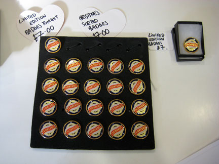 "My ""Sorted"" badges for sale at the CAC front desk, with a special reception offer; Regular price: £10/$15."