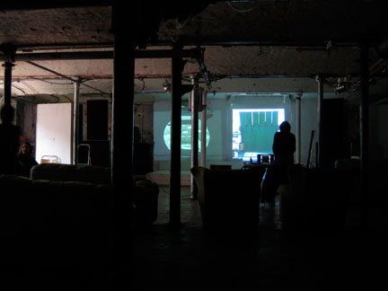 Preparing for T.S. Beall's artist's talk at Islington Mill