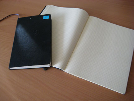 """5x8"""" hardbound Moleskin (left) and composition book-sized soft cover journal (right)"""