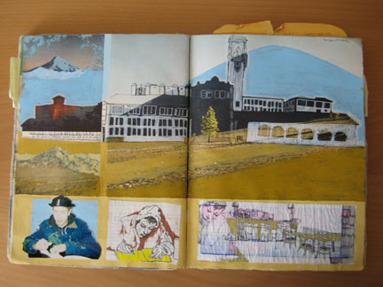 Christine Wong Yap, untitled page from Sketchbook #7, 1998, acrylic, pen, collage and photo on textbook.