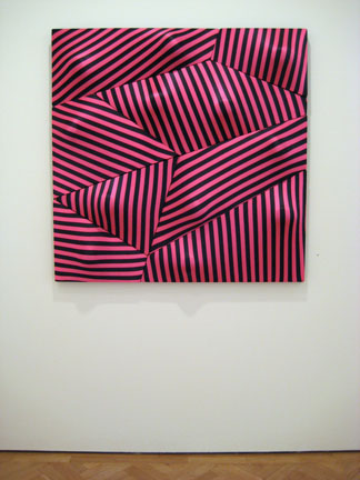 "Sculptural ""painting"" by Edward Wallace of stretched, striped lycra, also at Hannah Barry."