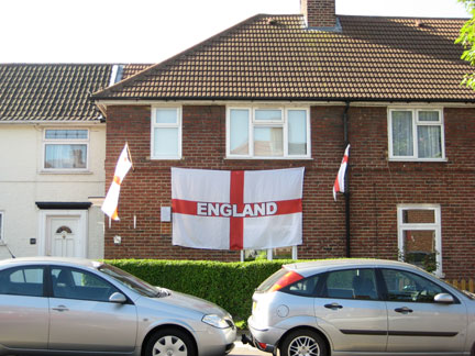 St Georges flags still up in Essex. I did my bit and ate a hot cross bun.