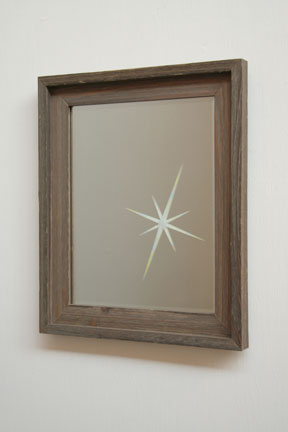 Christine Wong Yap, Untitled (Lens Flare, Small Mirror), 2007, Etched mirror, colored pencil, frame, 13 x 16 x 2 inches