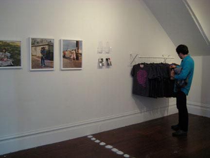 Left, works by Mark McKnight. Right, t-shirts by Amanda Curreri.