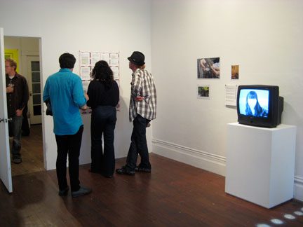 Photographer Seth Lower (far left, sethlower.com) inspects This and That; Jeronimo Roldan and Marcella Faustini and friend inspect Amanda Curreri's/Sally Elesby's correspondence (center). Jessica William's art (right). Not pictured: David Horvitz' letters about the Indian Ocean.