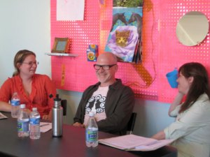 Featured guests (L-R): artist, writer and theorist Ginger Wolfe-Suarez, curator and critic Glen Helfand, and writer and curator Patricia Maloney.