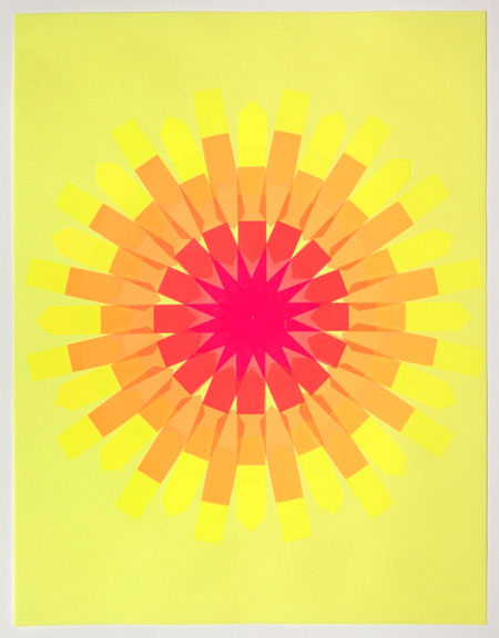 Flag Snowflake No. 2, 2010, stick-on flags on neon paper, 8.5 x 11 inches / 21.5 x 30 cm