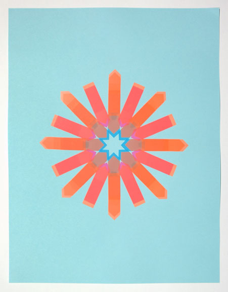 Flag Snowflake No. 12, 2010, stick-on flags on neon paper, 8.5 x 11 inches / 21.5 x 30 cm
