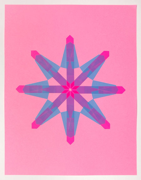 Flag Snowflake No. 17, 2010, stick-on flags on neon paper, 8.5 x 11 inches / 21.5 x 30 cm