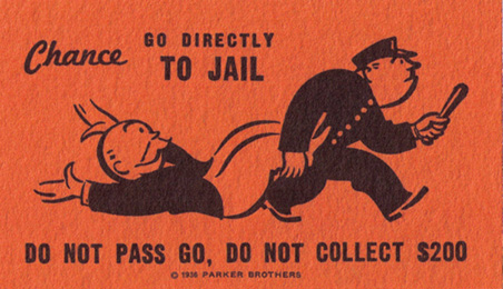 Chance; go directly to jail, do not pass go, do not collect $200
