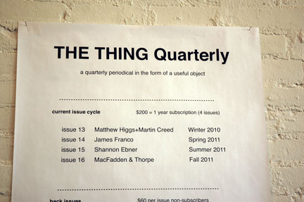 The Thing Quarterly subscription information