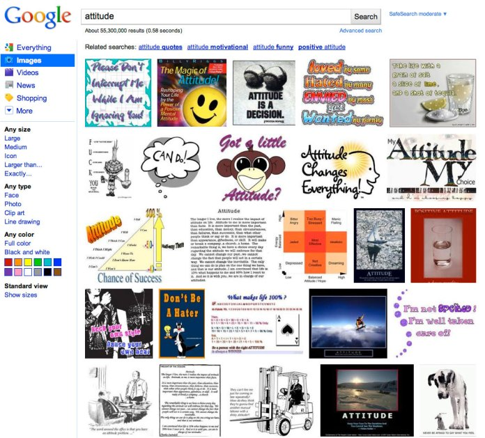 Google image search results for Attitude