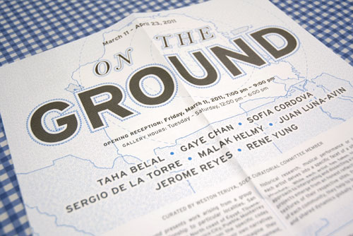On the Ground, Southern Exposure poster. Design: Christine Wong Yap.