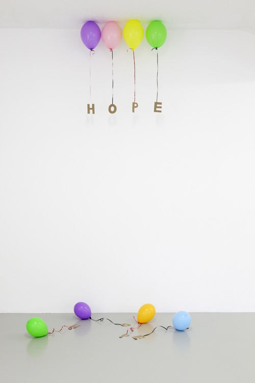 Tim Etchells' hope balloon installation