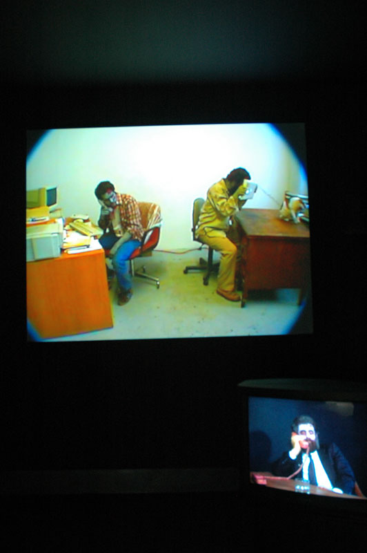 Video installation by HalfLifers (Torsten Z. Burns and Anthony Discenza) at Zombie-Proof House at di Rosa Preserve. Short scenes where the artists portray zombies engaged in mundane tasks are interspersed with behind-the-scenes-like shots. Very appealing.
