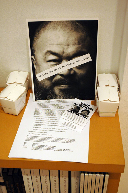 Small signs of protest against Ai Weiwei's detainment.