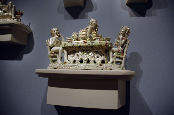 This work reminded me very much of the work of Bay Area ceramicist Erik Scollon.