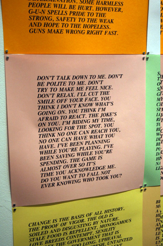 Jenny Holzer's tough-talking texts at the Printed Matter show at the Pacific Northwest College of Art's Feldman Gallery.