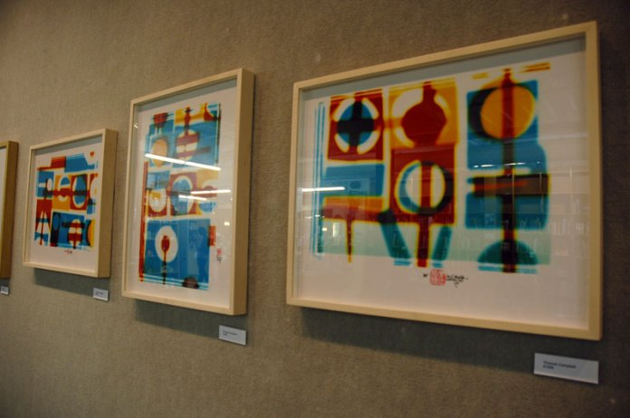 I liked these photo-based color abstractions by Thomas Campbell in the Pearl Room at Powell's Books.
