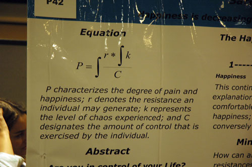 Sara L. Trescott presented a poster entitled Pain and Happiness: A Shifting Mathematical and Psychological Paradigm.