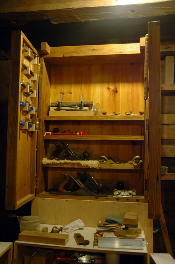 Our class project is to create another cabinet like this one, built by Paul Henderson. We did edge-joined some chestnut planks in the first class, and will work on doing the dovetail joints in the next class.