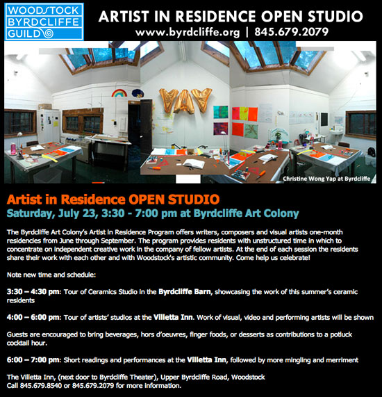 Woodstock Byrdcliffe Guild Artist in Residence Open Studios, July 23rd. full text: http://www.woodstockguild.org/artist-in-residence