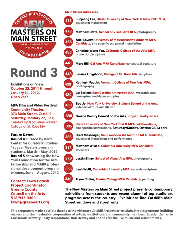 masters on main round three; details at http://www.greenearts.org/exhibitions/mastersonmain