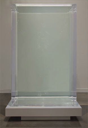 Tavares Strachan, What Will Be Remembered in the Face of All that Is Forgotten, 2010.  Hand-blown glass, 900 gallons of mineral oil, Plexiglass® tank, steel base, 75 x 62 x 62 inches.