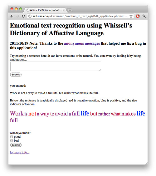 "Ebrahim ""Abe"" Kazemzadeh, Emotional text recognition using Whissell's Dictionary of Affective Language"