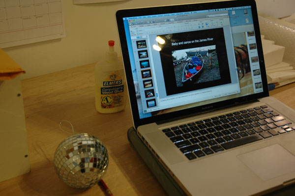 Mini disco ball, wood glue, and the story of a sailing expedition at Michael Arcega's studio.
