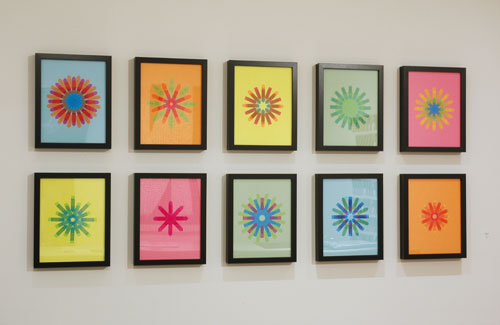 Flag Snowflake series, 2010, stick-on flags on neon paper, 8.5 x 11 inches / 21.5 x 30 cm