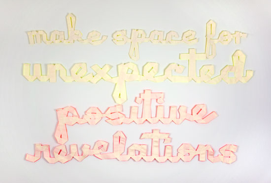 make space for unexpected positive revelations, 2012, ribbon, thread, pins, 59 × 39 in / 1.5 × 1 m.