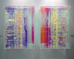 Some kind of interference-coated acrylic sheeting. Sculpture by HC Berg at Gallery Florsbaum.