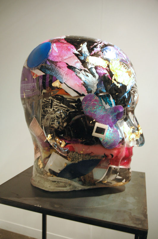 Glass head stuffed with stuff. Heavy-handed, if not to mix metaphors, but the gesture seems to bear potential still. Richard Dupont, Gallerie Michael Janssen, Berlin.