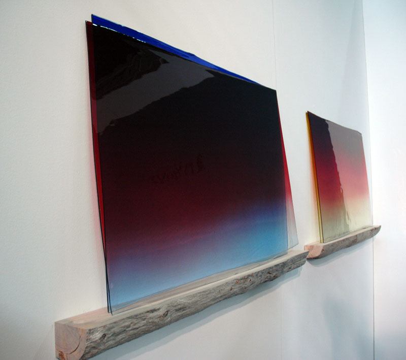 Nice layered colored gradients of hand-rolled glass. The quarter-log shelf really does it for me. You know who it is. Olafur Elaisson at i8 Gallery, Reykjavik.