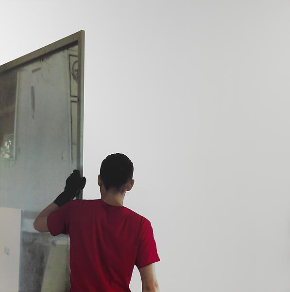 Michelangelo Pistoletto, Lavoro - Atelier, 2008-2011, Silkscreen on polished super mirror stainless steel 59 X 59 inches (150 X 150 cm). // Source: luhringaugustine.com
