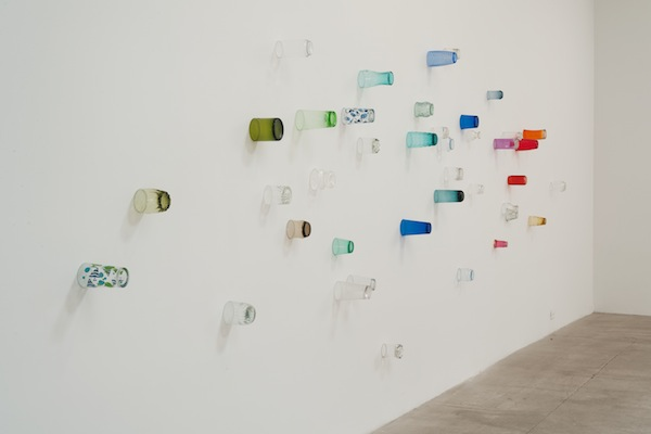 Amalia Pica, Eavesdropping (Version #2, large), 2011, found drinking glasses, glue. Collection of James Keith Brown and Eric Deifenbach, New York. // Source: Flavorwire.com.