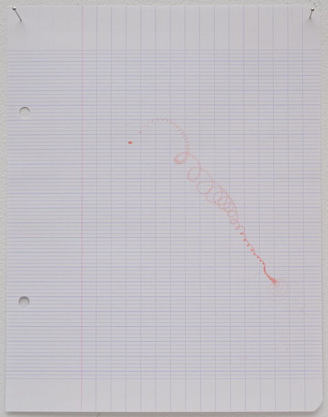 Amalia Pica, Spinning Trajectories - #1, 2009. Felt pen spinning top on graph paper. Individual works, various sizes. // Source: MarcFoxx.com.