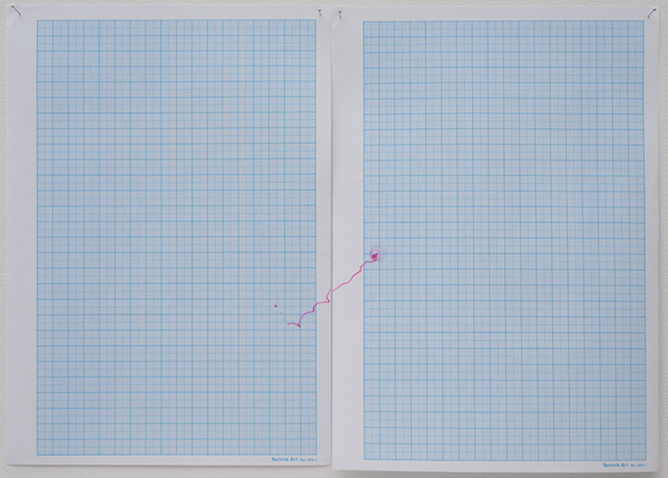 Amalia Pica, Spinning Trajectories - #4, 2009. Felt pen spinning top on graph paper. Individual works, various sizes. // Source: MarcFoxx.com.