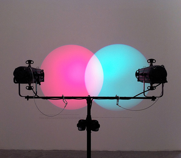 Amalia Pica, Venn diagrams (under the spotlight). 2011 Installation with spotlights, motion sensors and text. // Source: rolu.terapad.com.