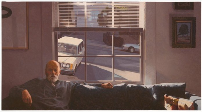 Robert Bechtle, Potrero Hill, 1996; painting; oil on canvas, 36 in. x 66 in. (91.44 cm x 167.64 cm); Collection SFMOMA, Ruth Nash Fund purchase; © Robert Bechtle  Source: http://www.sfmoma.org/explore/collection/artwork/104616##ixzz1xQHskP3n  San Francisco Museum of Modern Art. // Source: SFMOMA.org.