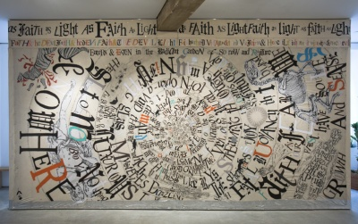 Lesley Dill, Faith & the Devil, Installation View, 2011-2012, acrylic paint, oil pastel, silver leaf, gold leaf, mixed media on cotton panel. // Source: georgeadamsgallery.com