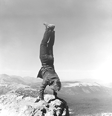 Robert Kinmont: 8 Natural Handstands (detail), 1969/2009; nine black-and-white photographs; 8 1/2 x 8 1/2 in. each; courtesy of Alexander and Bonin, New York. Photo: Bill Orcutt. // Source: bampfa.berkeley.edu.