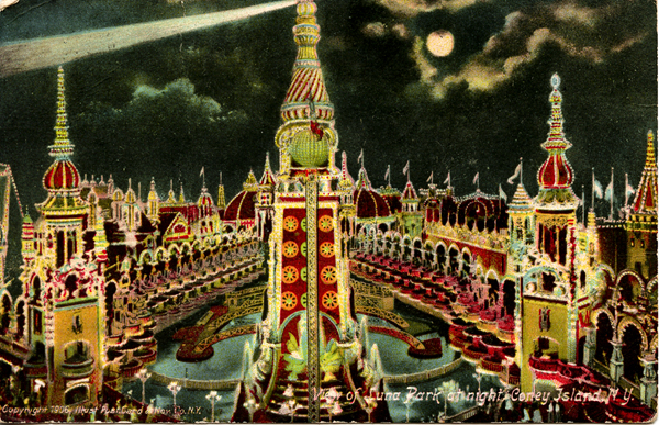 View of Luna Park at Night, Coney Island. Credit: Postcard courtesy of The Coney Island Museum // Image source: astropop.com.