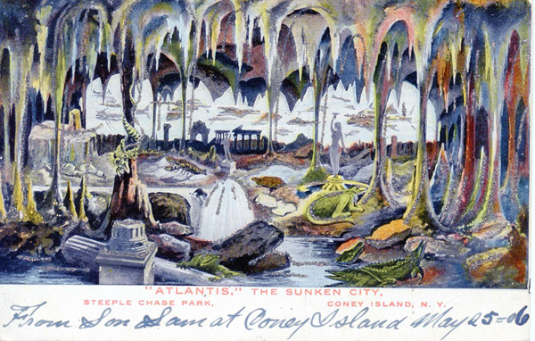 """Atlantis,"" The Sunken City, Steeplechase Park, Coney Island. Credit: Postcard courtesy of The Coney Island Museum // Image source: astropop.com"