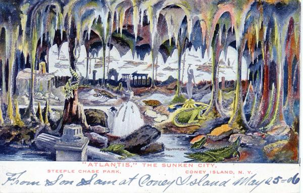 """Atlantis,"" The Sunken City, Steeplechase Park, Coney Island. Credit: Postcard courtesy of The Coney Island Museum // Image source: astropop.com"